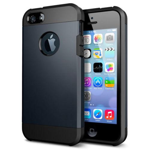 38634322503 iPhone 5/5S Outfit Aluminum and Polycarbonate Dual Case, Black & Navy Blue