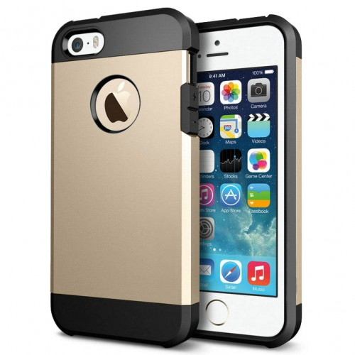 1182a55310c iPhone 5/5S Outfit Aluminum and Polycarbonate Dual Case, Black & Gold