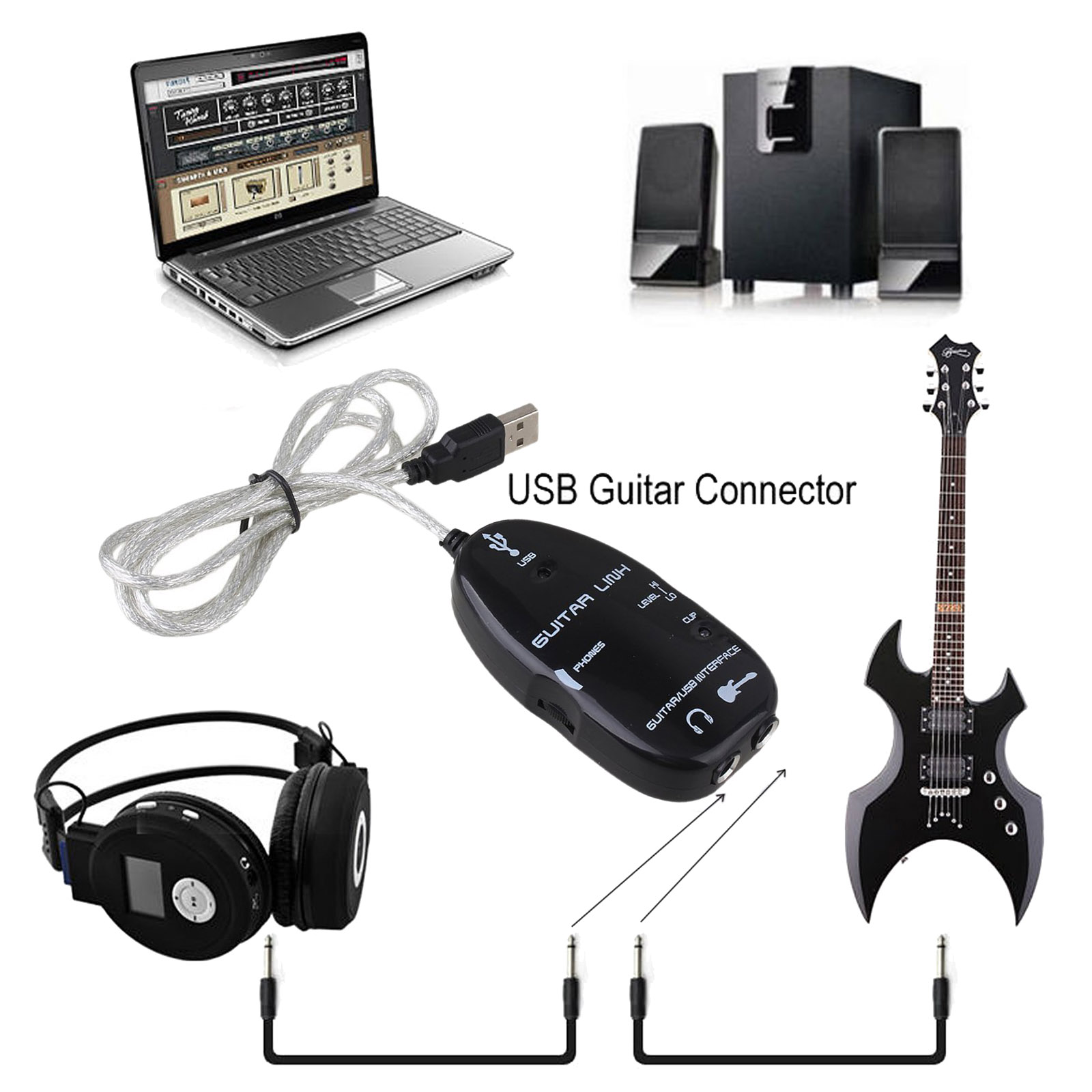 electric guitar to usb interface audio link cable music recording adapter black ebay. Black Bedroom Furniture Sets. Home Design Ideas