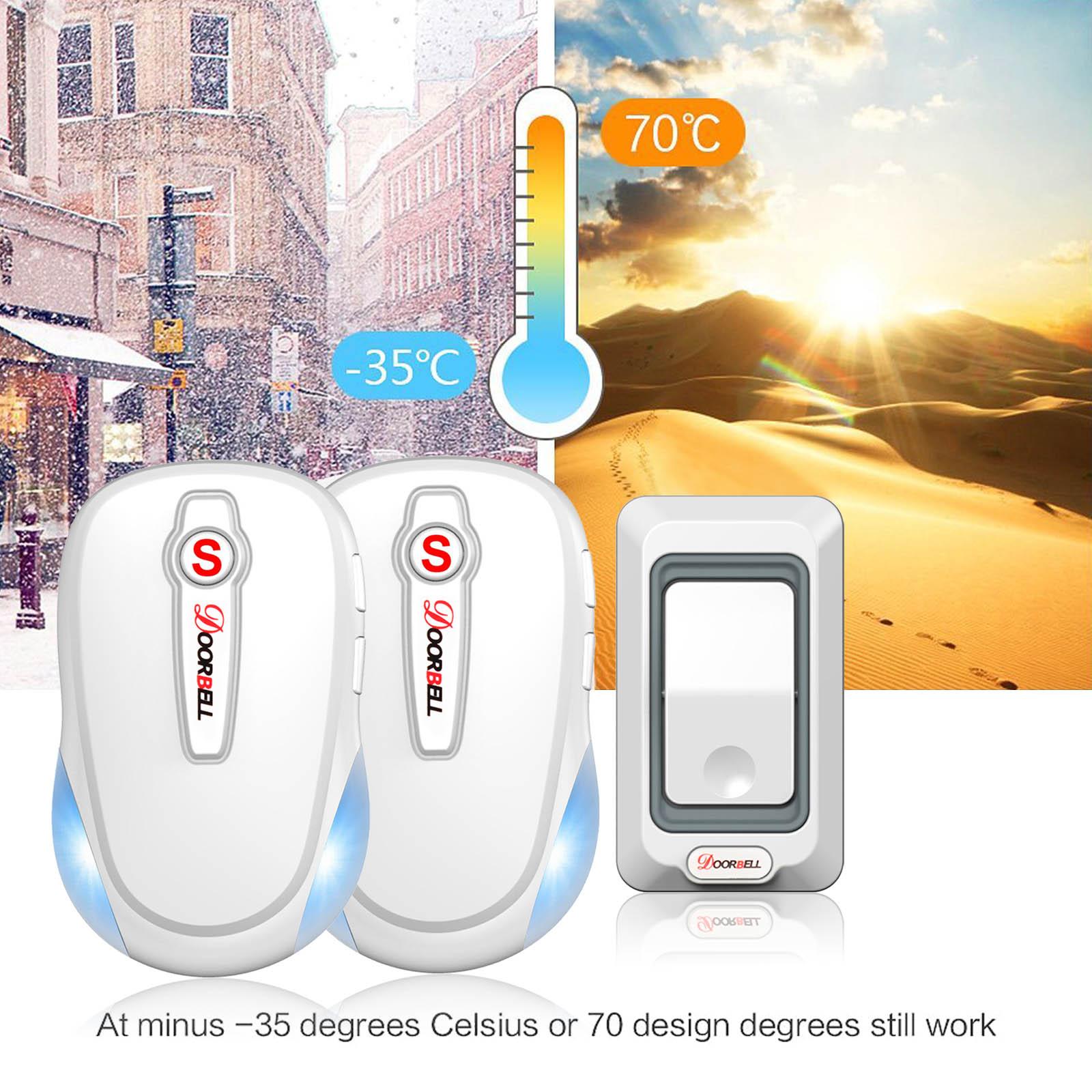 Waterproof LED Battery Wireless Doorbell Door Bell Sync 2 Receiver 300m Range US