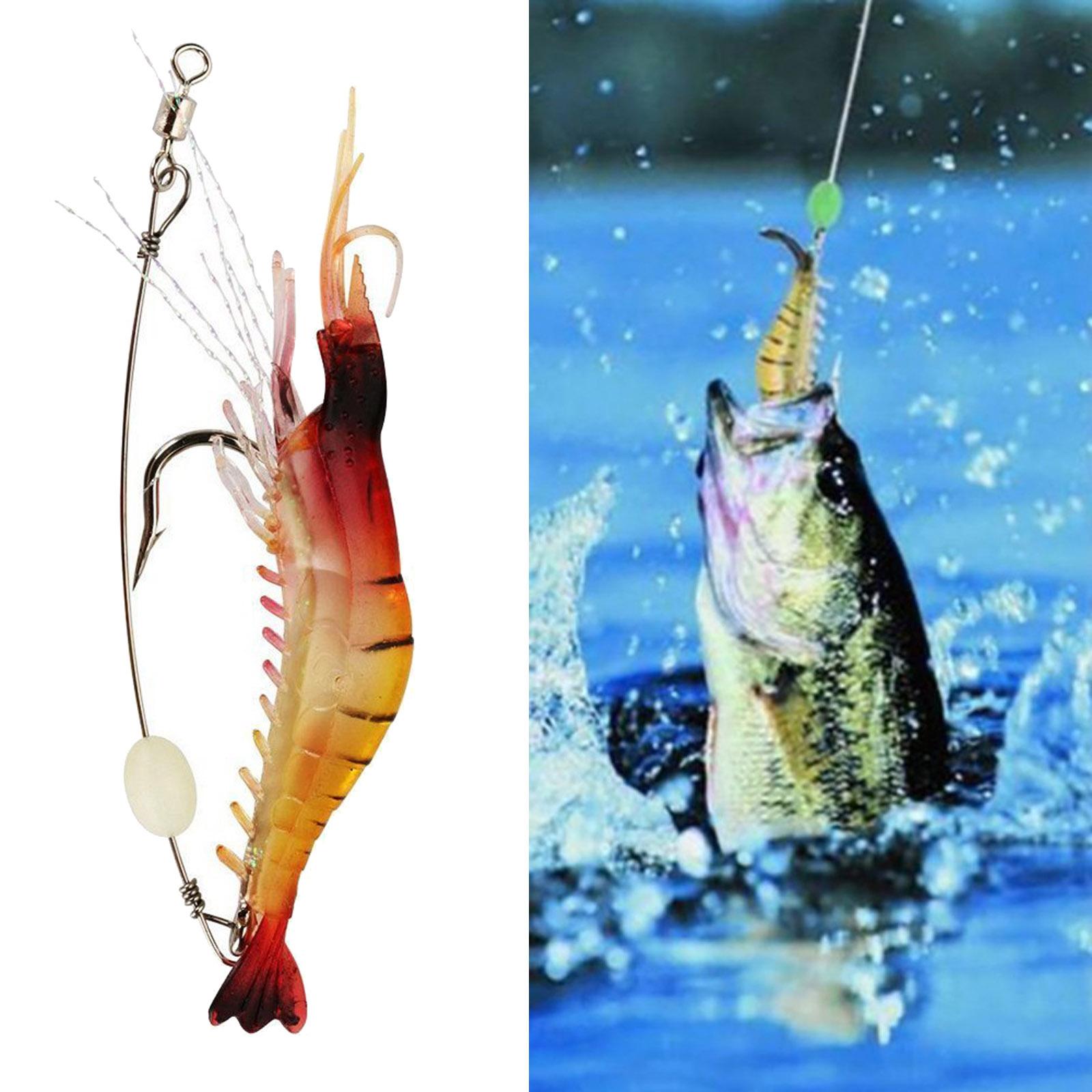10Pcs Luminous Shrimp Fishing Lure Single Hook Tackle Crank New WRDE
