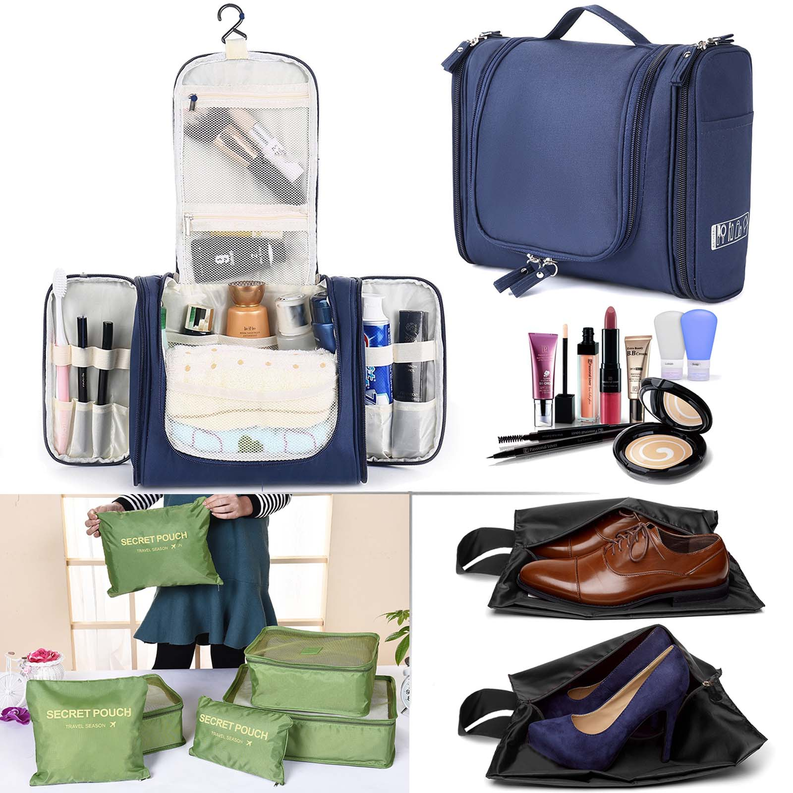 Details about Large Travel Toiletry Bag Heavy Duty Waterproof Women's Makeup Men's Shaving Kit