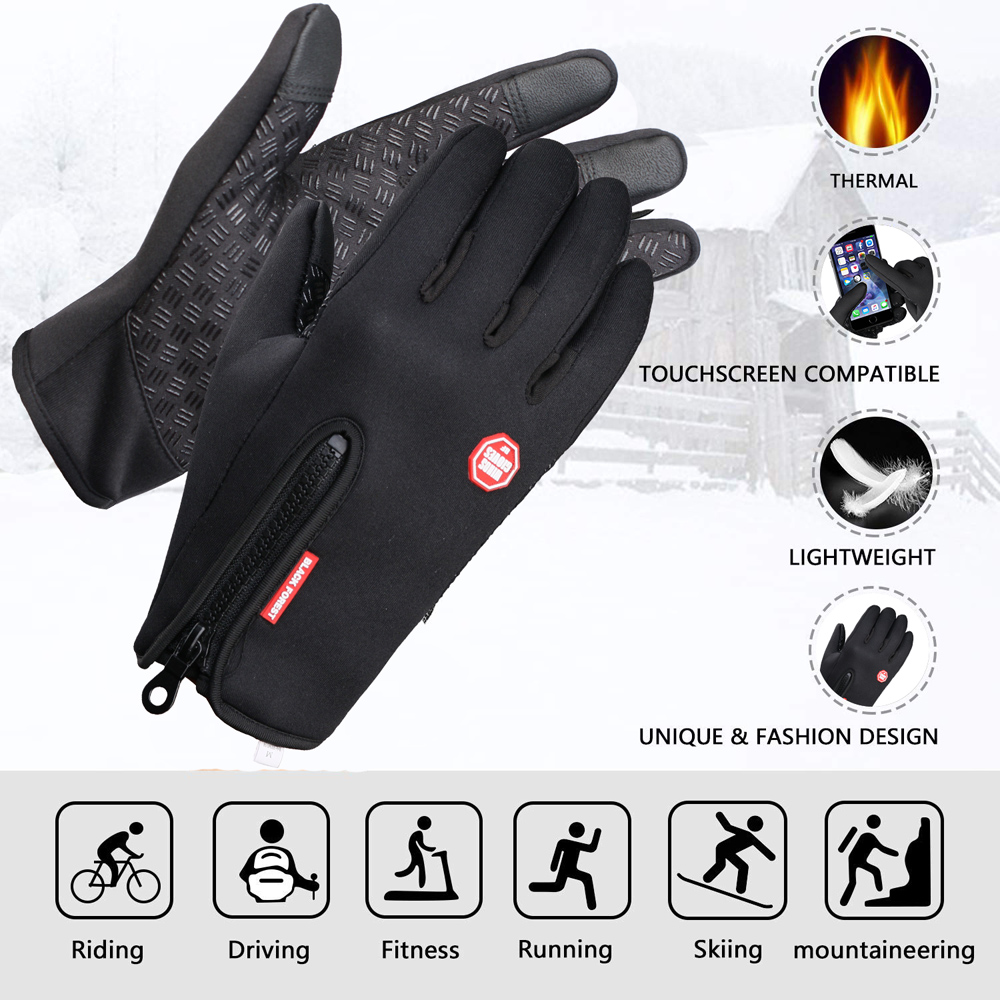 Men Color : Black, Size : M Outdoor Warm Touch Screen Winter Gloves Waterproof Running Motorcycle Mens Riding All-Around Mountaineering Windproof Lightweight Female