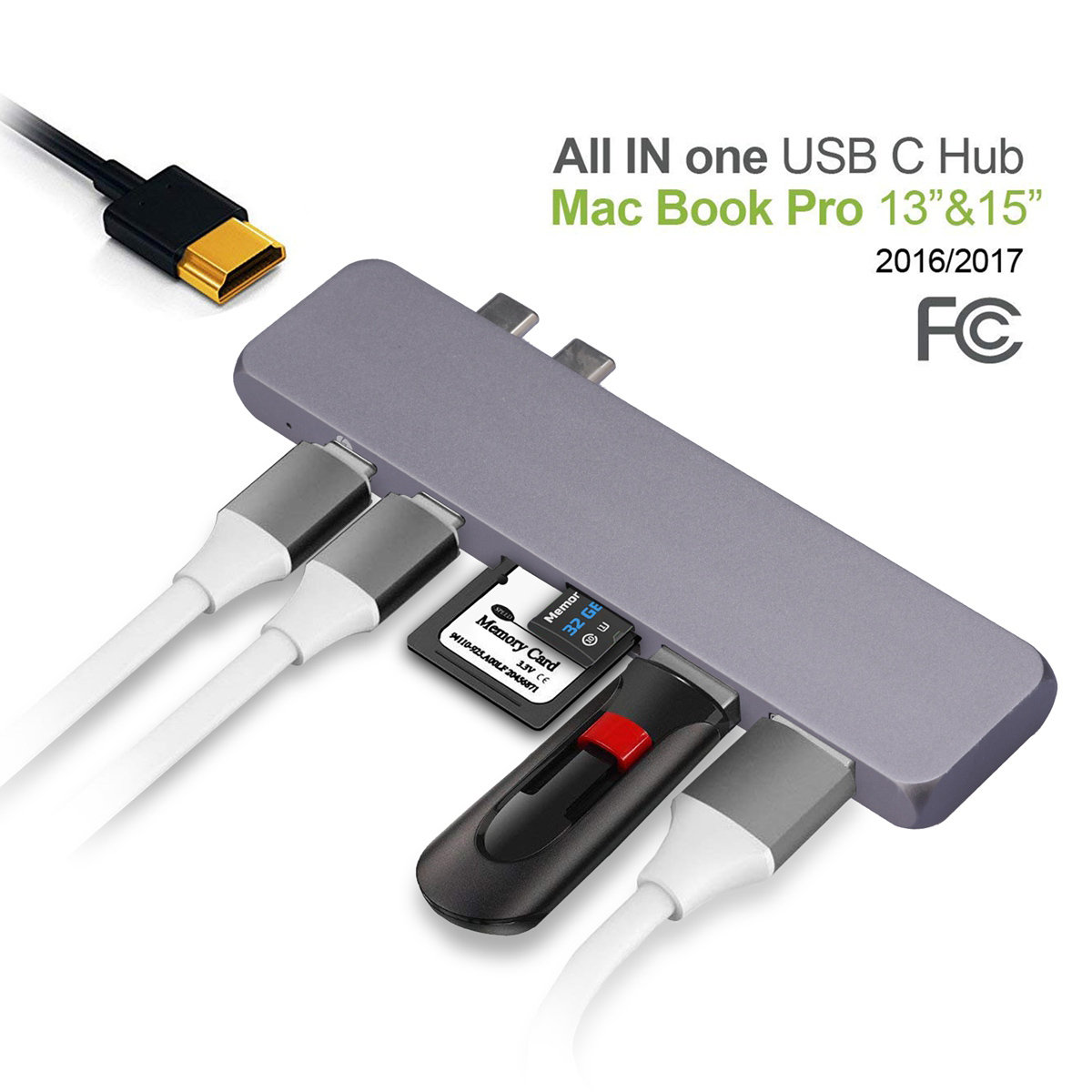 USB-C 5Gbps Data 7in2 Type C Adapter for 2018//2017 MacBook Pro USB Hub 4K HDMI