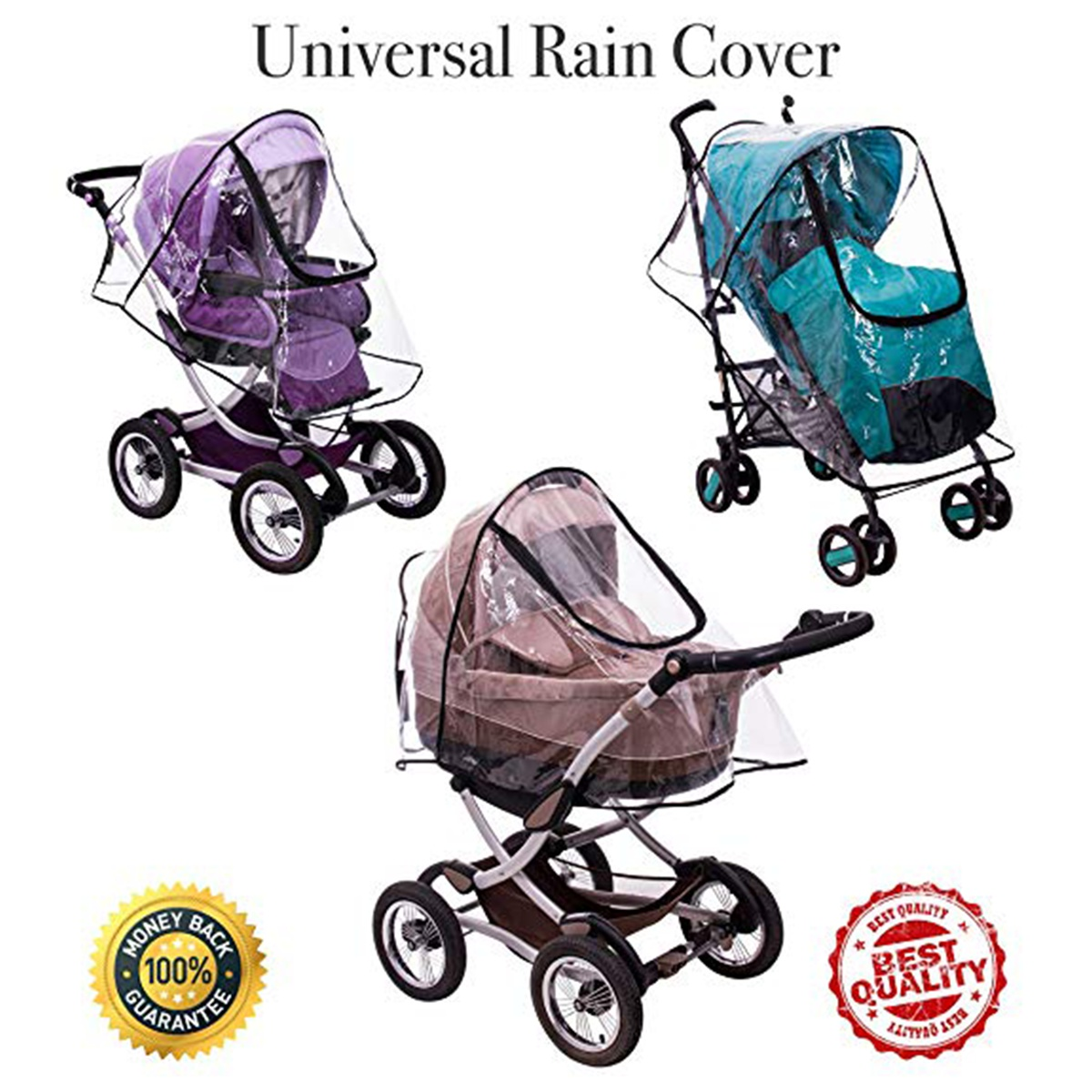 LivingBasics® Baby Stroller Rain Cover with Shield Weather Shield